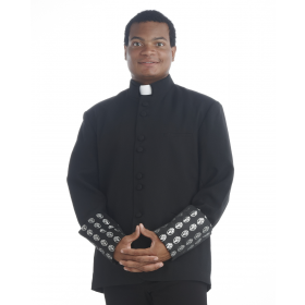 Men's Black and Silver Clergy Coat
