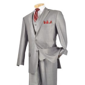 Men's 3 Pc. Premium Sharkskin Suit Gray