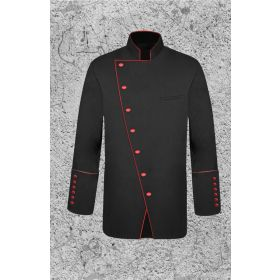 Men's Double Breast Clergy Jacket in Black and Red