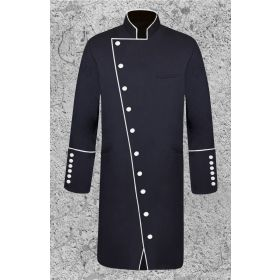 Men's Double Breasted Clergy Frock Jacket in Black and White with Three Quarter Length
