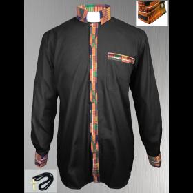 Black Clergy Shirt with Kente Cloth Fabric