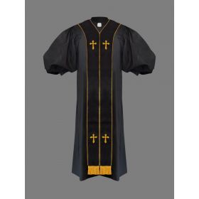 Suit Avenue Clergy Pulpit Robe Black with Free Black/Gold Stole