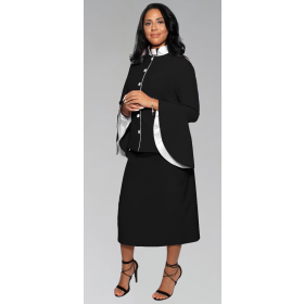 781 W. Women's Clergy Suit - Black/White Flared Sleeve