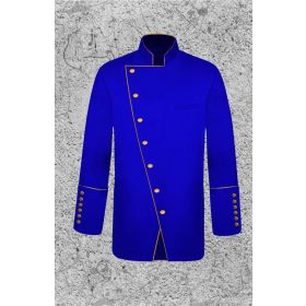 Royal Blue and Gold Clergy Frock Jacket Double Breasted