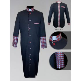 *Featured* Men's Custom Fabric Clergy Robe - Black with Argyle Fabric