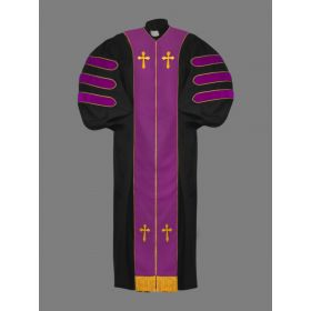 Dr. of Divinity Clergy Robe in Black with Purple & Gold Doctor Bars