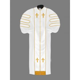 Dr. of Divinity Robe White and White/Gold Doctor Bars with Free Stole