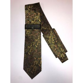 **Stacy Adams Premium Handmade Silk Neck Tie AND HANKY - Brown & Gold Floral