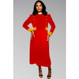 Ladies Modern Clergy Dress in Red with Gold Contrast buttons and clergy collar