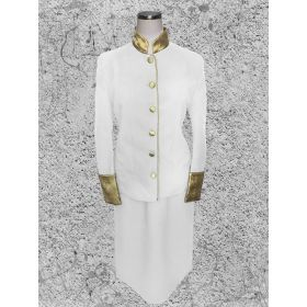 Women's White and Gold Clergy Suit