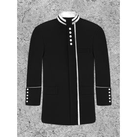 Black and White Modern Button Clergy Jacket