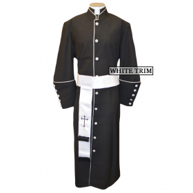 Men's Black/White Clergy Robe and Matching Cincture Set