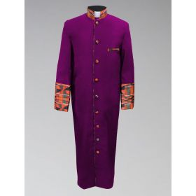 Men's Purple Kente Cloth Clergy Robe