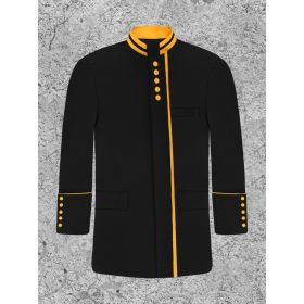 Men's Black and Gold Clergy Frock Coat for Male Preacher
