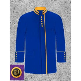 Men's Royal Blue and Gold Clergy Frock Jacket