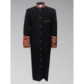 Men's Clergy Robe - Black with African Kente Cloth
