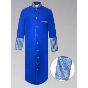 Mens Custom Brocade Royal and Gold Clergy Robe