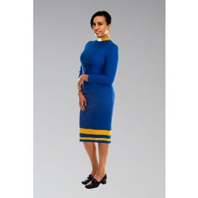 Ladies Clergy Dress Royal with Gold Contrast
