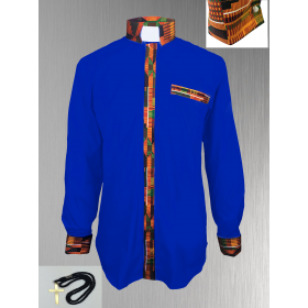 Royal Blue Clergy Shirt with Kente Cloth
