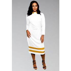 Ladies Clergy Dress White with Gold Contrast