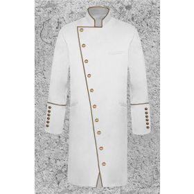 Men's Double Breasted Clergy Frock Jacket in White with Gold with Three Quarter Length