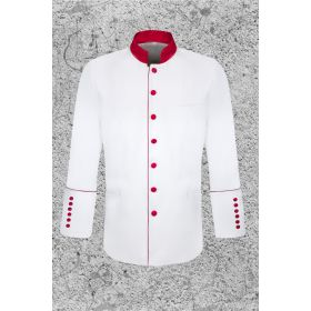 Men's White and Red Clergy Jacket