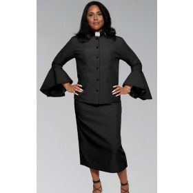 Ladies Black on Black Clergy Pastor Suit