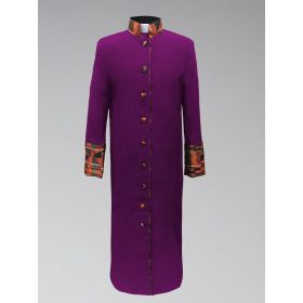 Women's Clergy Robe - Purple with African Kente Cloth