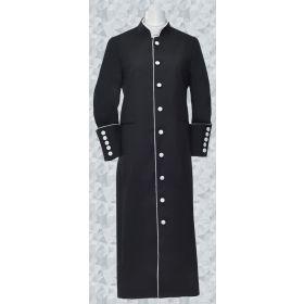 Men's Clergy Robe - Black and White Trim