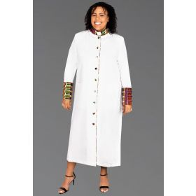 Women's White Clergy Robe Kente Kwangali Fabric