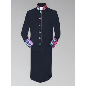 Women's Clergy Suit with Modern African Kwangali Kente Fabric