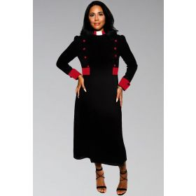 Designer Black Clergy Dresses with red contrast