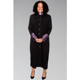 Ladies Black Clergy Robe With Special Brocade