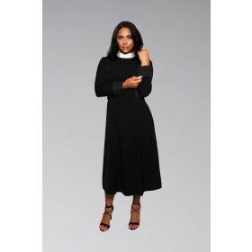 Womens Bishop Full Collar Clergy Dress in Black