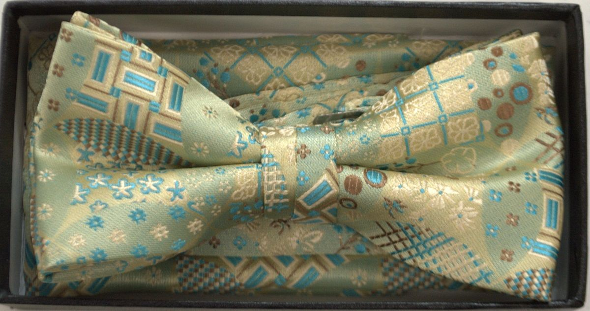 Men's Premium Squared Bow Tie + Hanky - Green and Brown