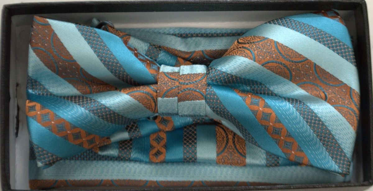 Men's Premium Dotted AND Striped Pattern Bow Tie + Hanky - Turquoise & Rust