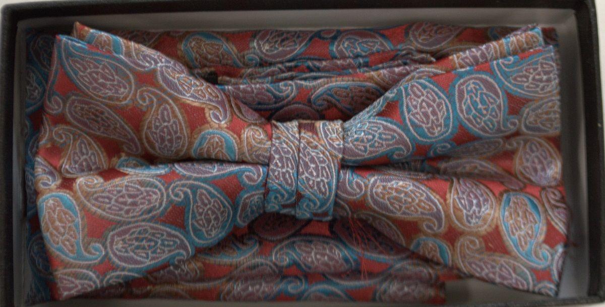 Men's Paisley Pattern Bow Tie + Hanky - Red & Blue