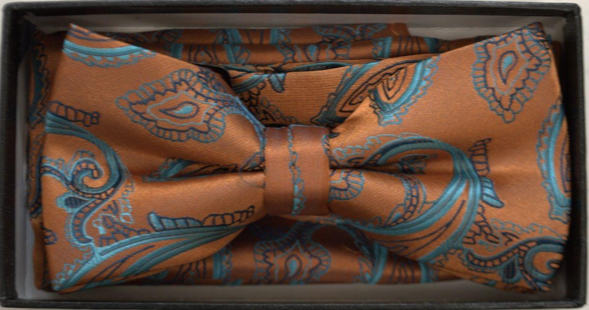 Men's Hot Paisley Pattern Bow Tie + Hanky - Cognac & Blue