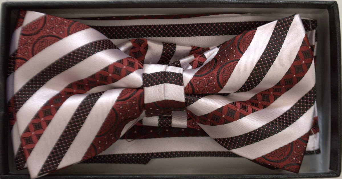 *Men's Premium Striped Regency Pattern Bow Tie + Hanky - Red/White
