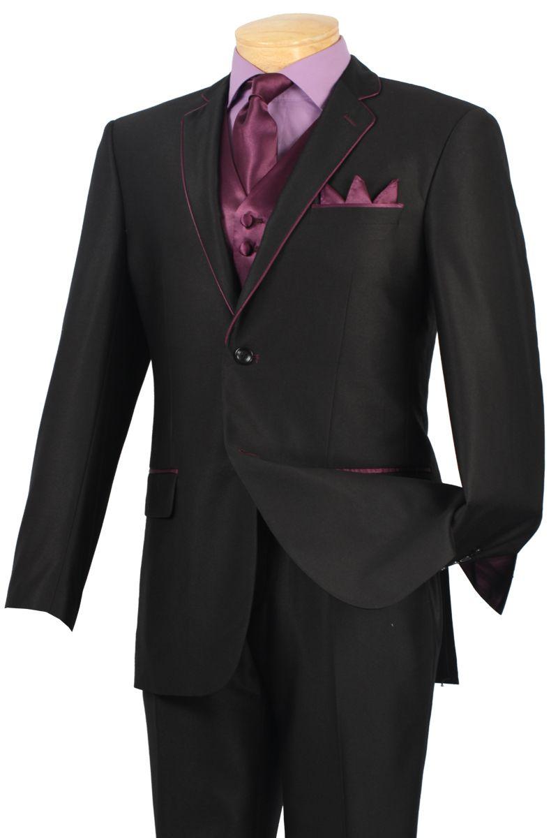 Fancy Formal Fashion Suit 5 Pc. Suit Black/Purple