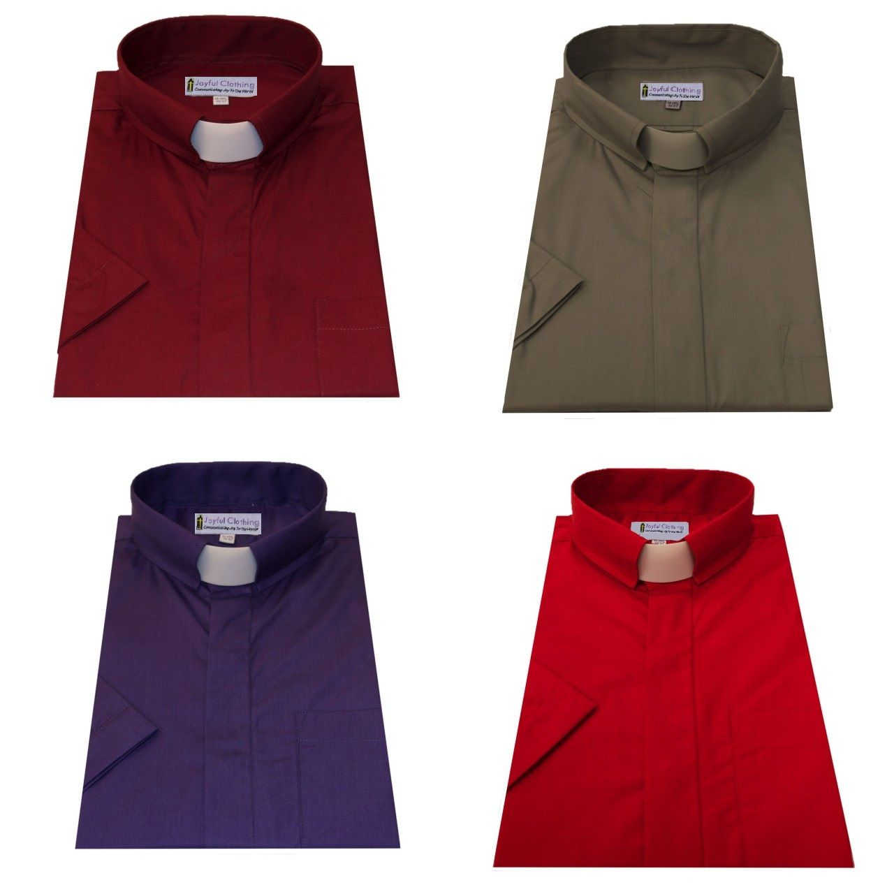 *Pack of 4* Men's Short-Sleeve Tab-Collar Clergy Shirts
