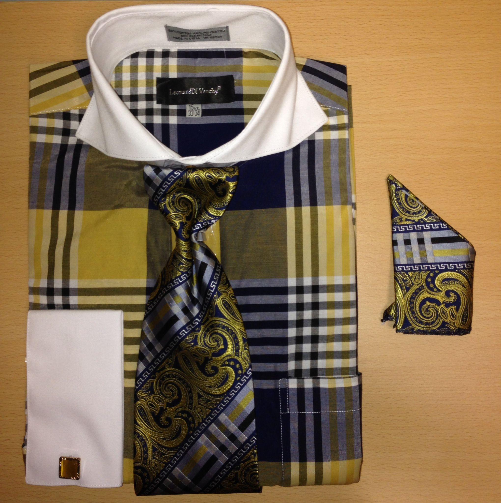 Men's Fashion Large Plaid Check Pattern Cufflink Dress Shirt Set - Navy and Gold
