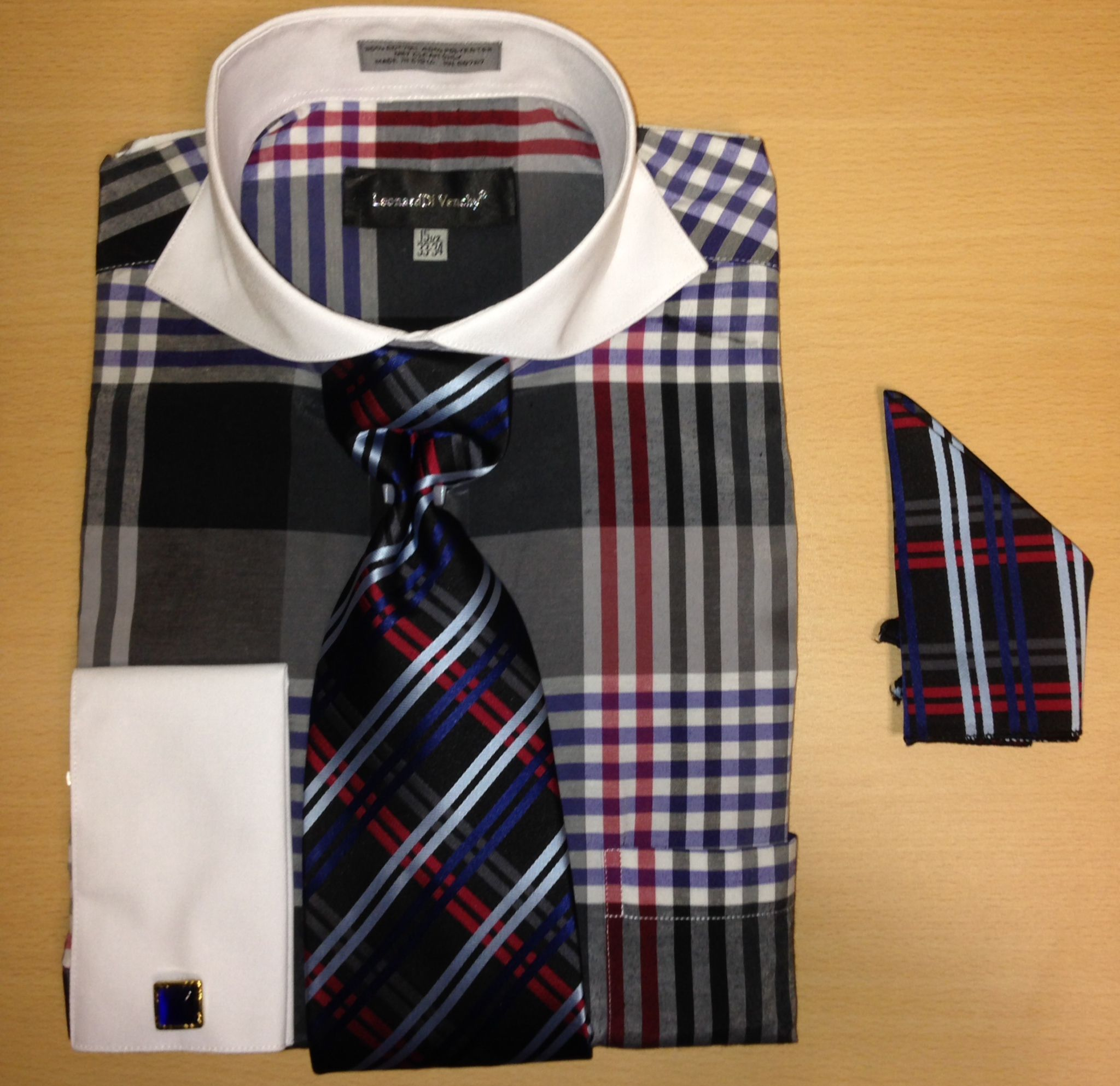 Men's Fashion Large Plaid Check Pattern Cufflink Dress Shirt Set - Navy with Red Accents