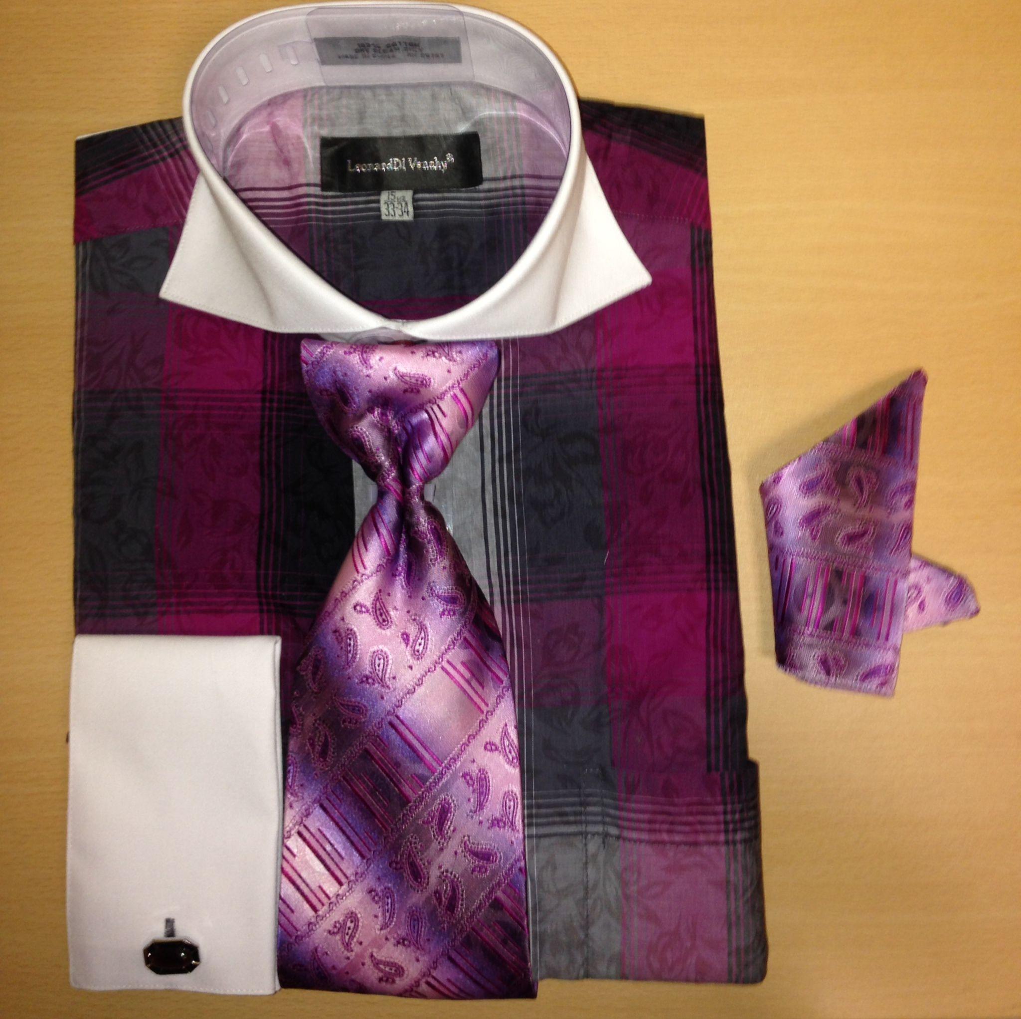 Men's Fashion Two-Tone w/ Paisley Mixture Cufflink Dress Shirt Set - Purple to Black