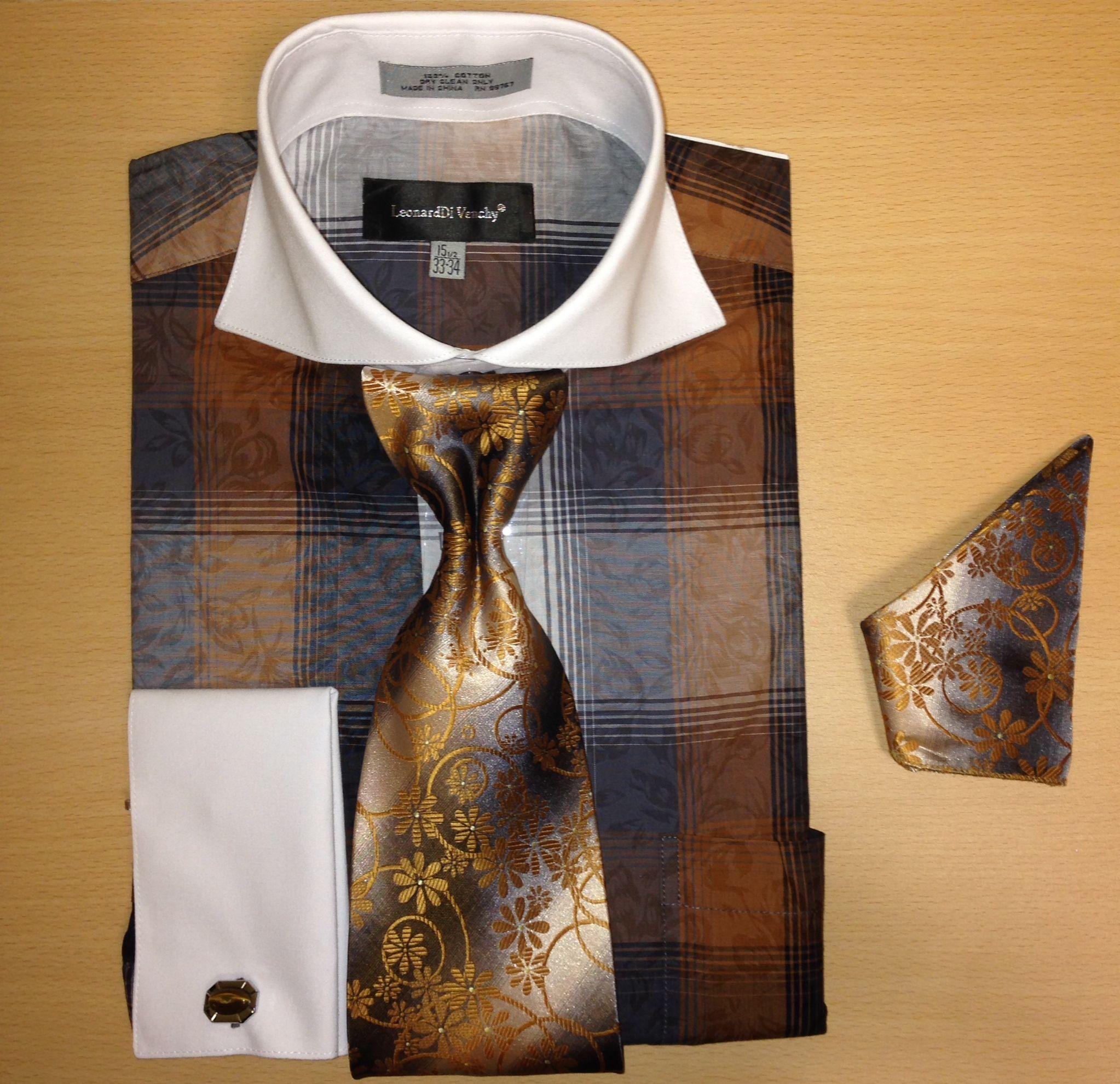 Men's Fashion Two-Tone w/ Paisley Mixture Cufflink Dress Shirt Set - Brown to Black