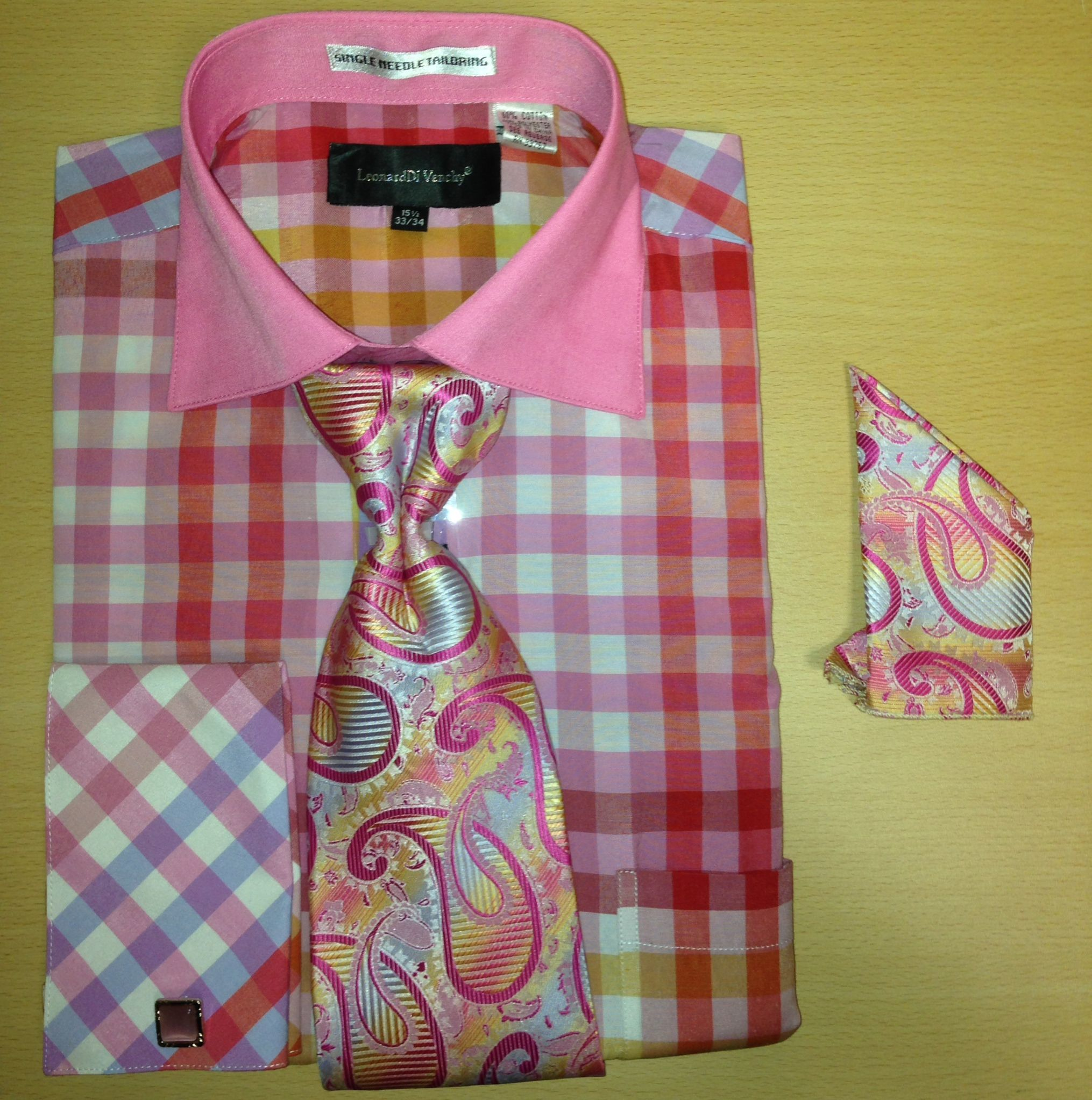Men's Fashion Multi Gingham Checked Cufflink Dress Shirt Set - Fuschia