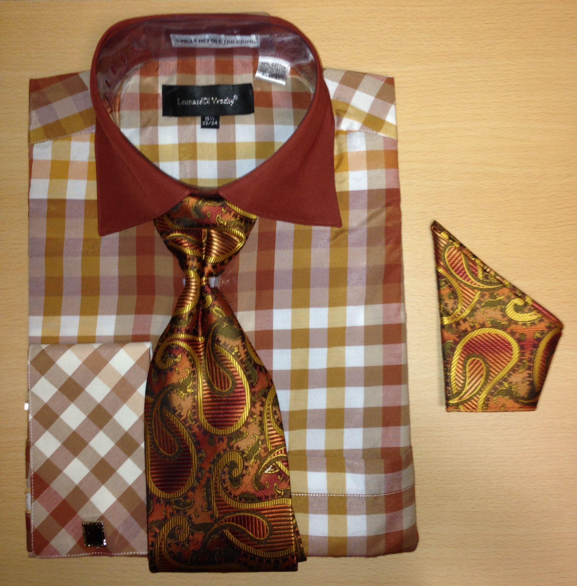 Men's Fashion Multi Gingham Checked Cufflink Dress Shirt Set - Brown