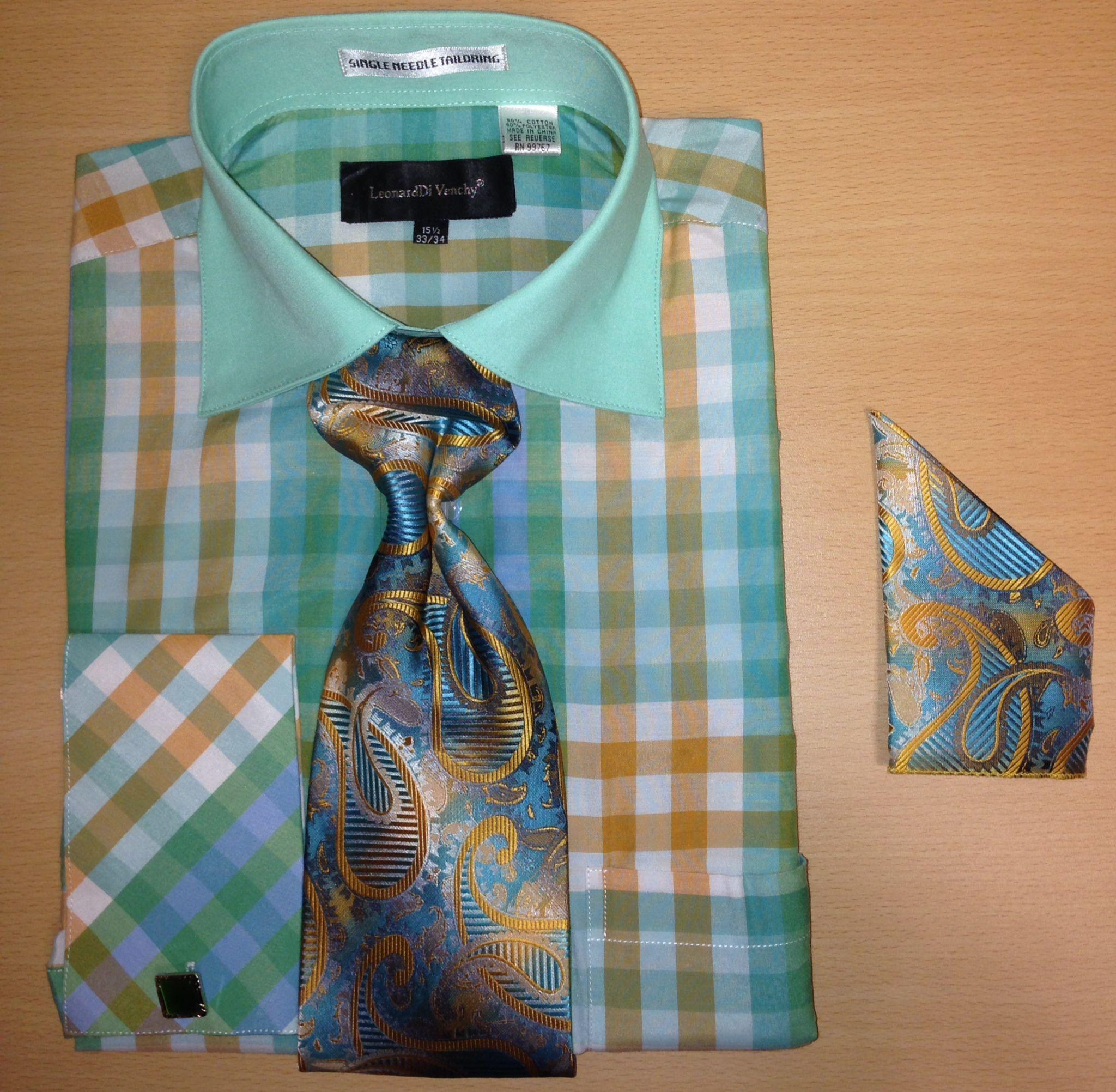 Men's Fashion Multi Gingham Checked Cufflink Dress Shirt Set - Mint Green