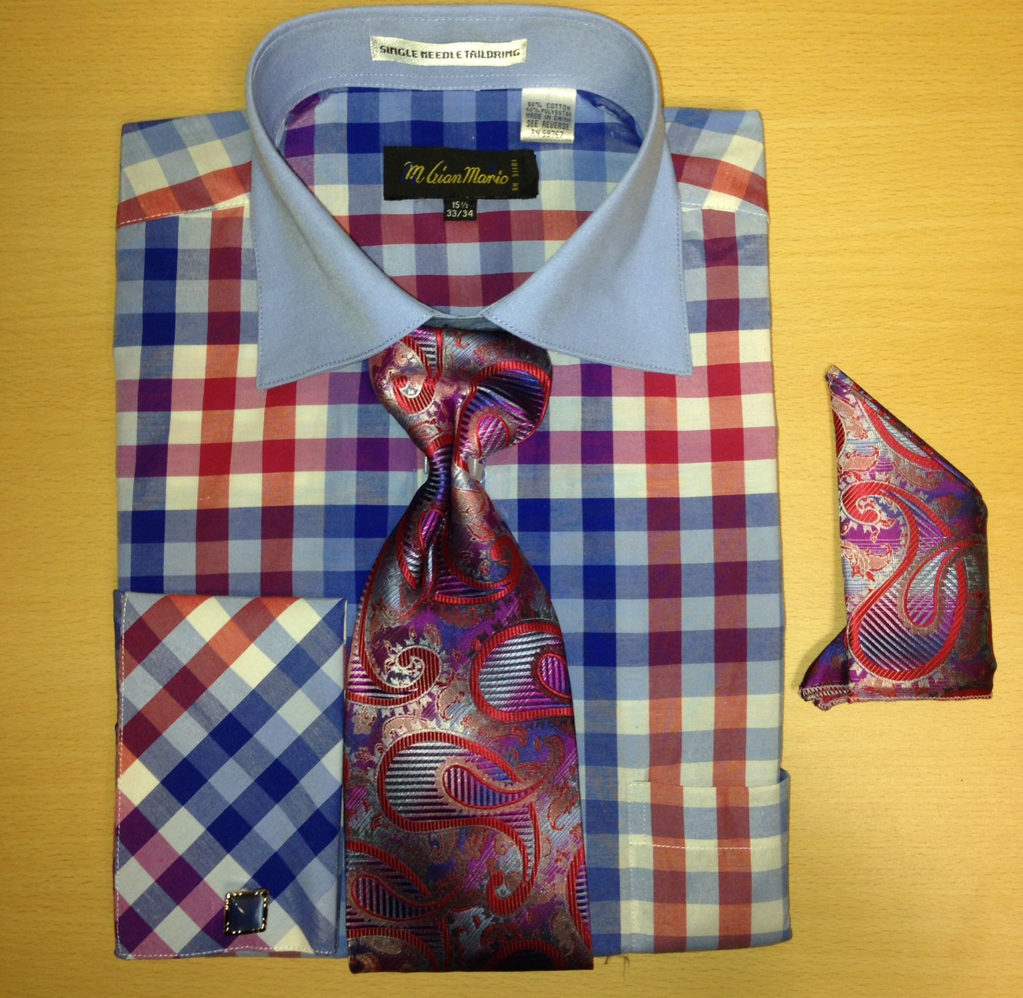Men's Fashion Multi Gingham Checked Cufflink Dress Shirt Set - Blue