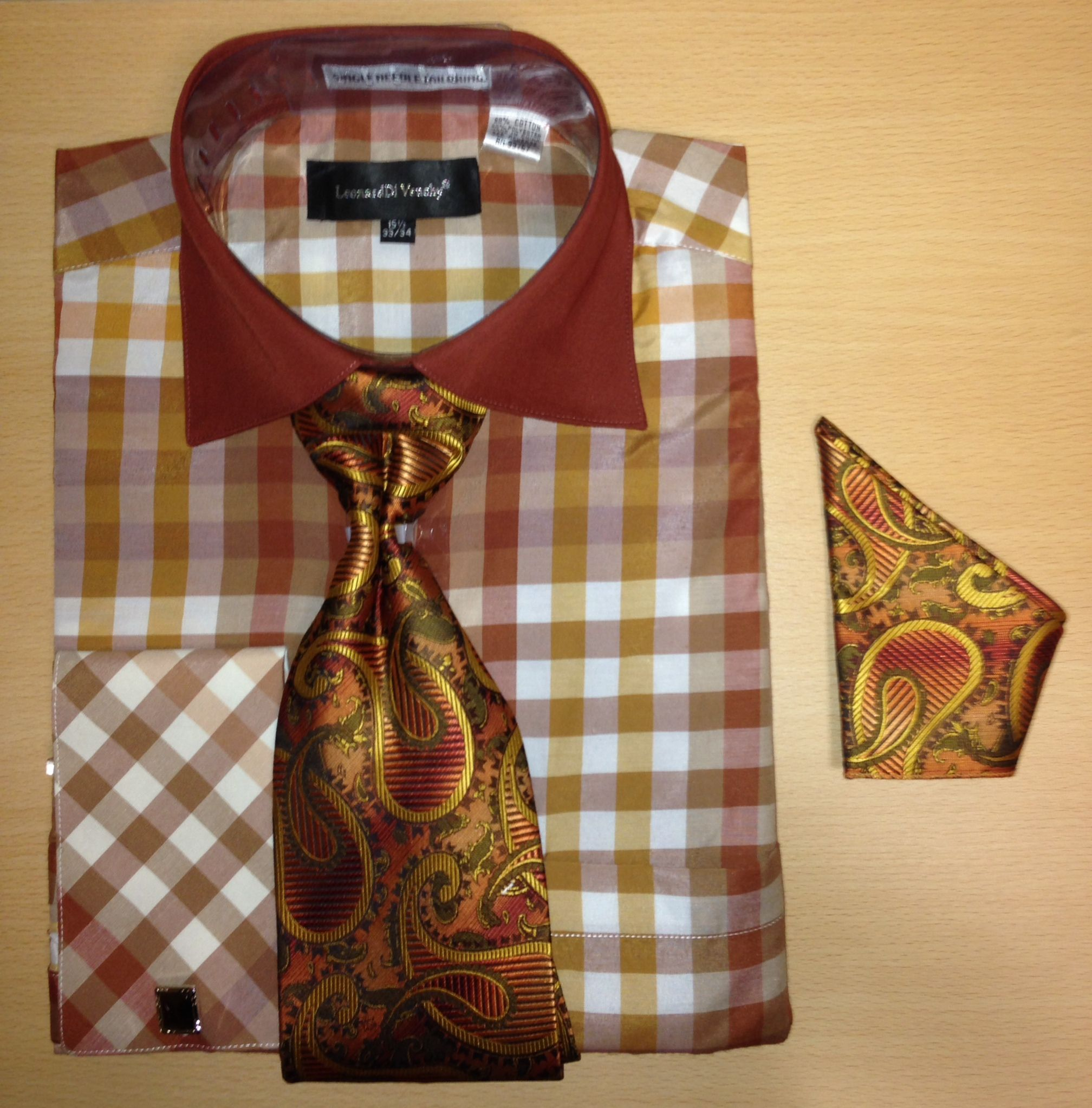 Men's Fashion Multi Gingham Checked Cufflink Dress Shirt Set - Brown